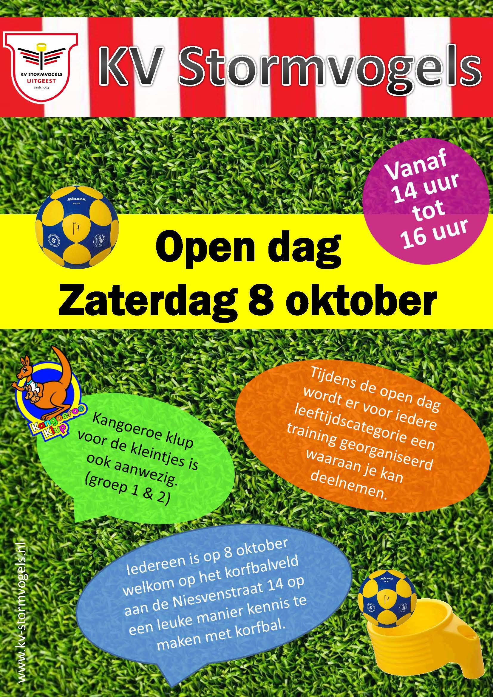 Open dag zaterdag 8 oktober.